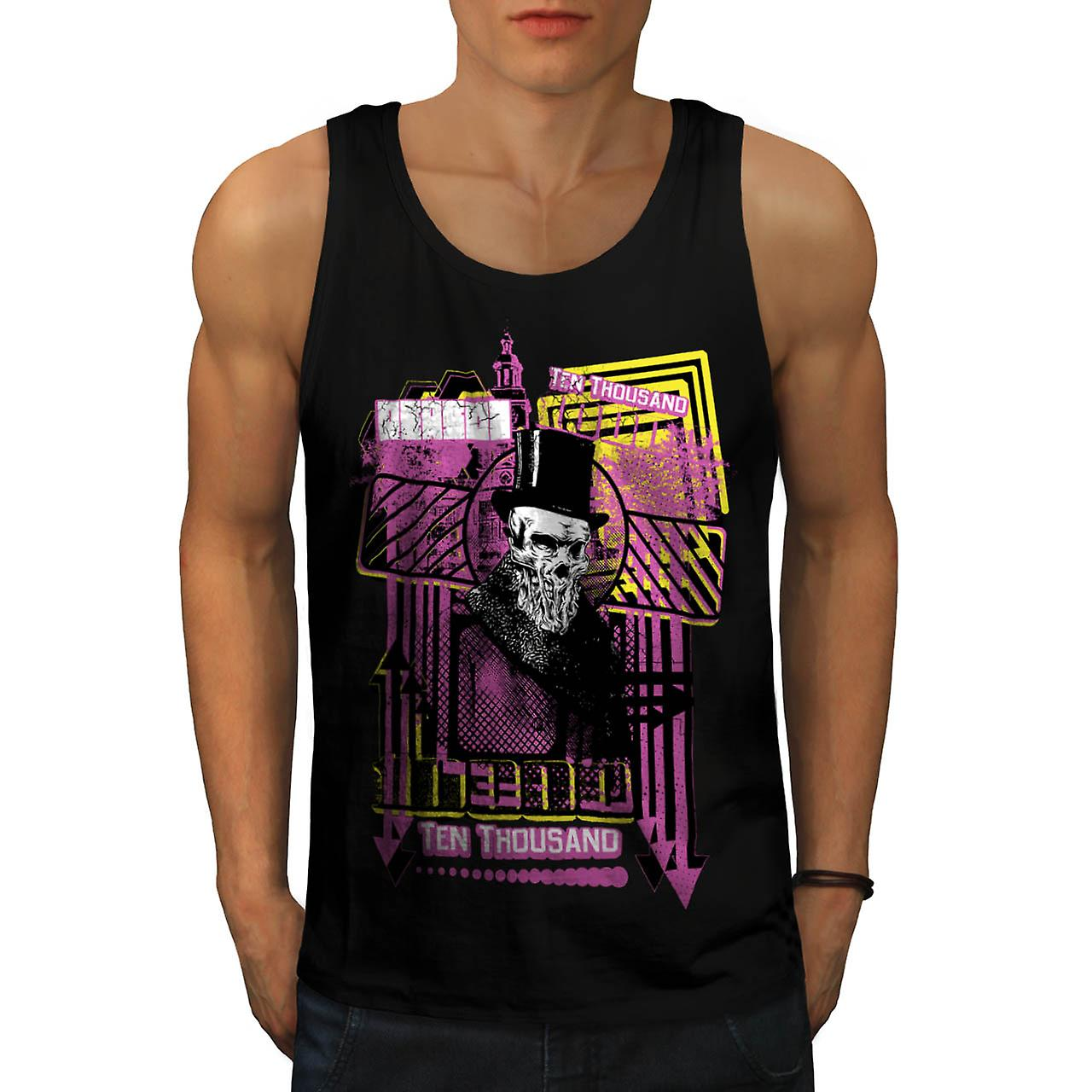 Ten Thousand Dollar Skull Men Black Tank Top | Wellcoda