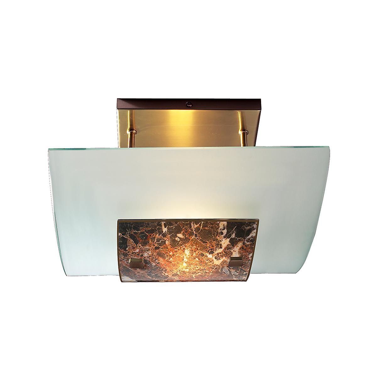 David Hunt MG78 Savoy Semi Flush Ceiling Light In Antique Brass With Dark Glass