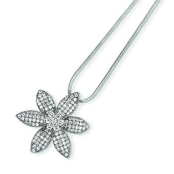 Sterling Silver and Cubic Zirconia Brilliant Embers Flower Necklace - 18 Inch