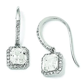 Sterling Silver Square CZ Wire Earrings