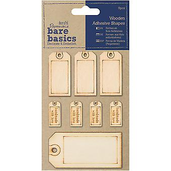 Papermania Bare Basics Adhesive Wooden Shapes 8/Pkg-Tags PM174613