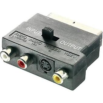 SCART / RCA / S-Video Adapter [1x SCART plug - 3x RCA socket (phono), S-Video socket] Black incl. changeover switch Spea