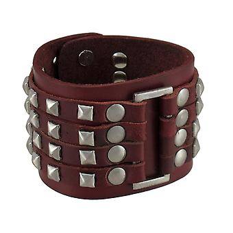 Brown Leather 4 Row Chrome Pyramid Stud Wristband