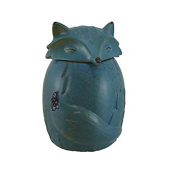 Blue Ceramic Snow Fox Cookie / Treat Jar