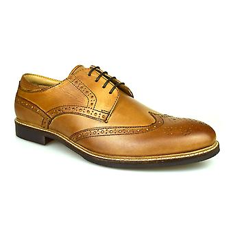 Red Tape Backford Mens Tan Leather Gibson Brogues