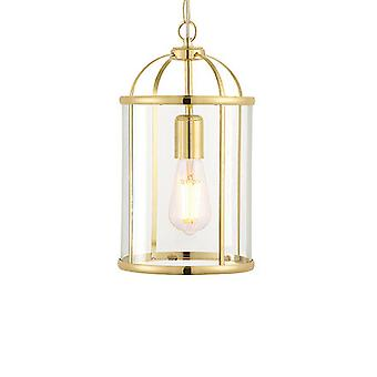 Endon 70321 Lambeth 1 Light Ceiling Light In Brass And Clear Glass