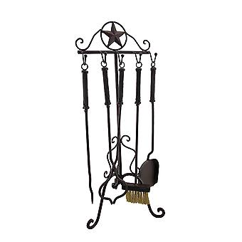 Rustic Western Star Wrought Iron Fireplace Tool Set