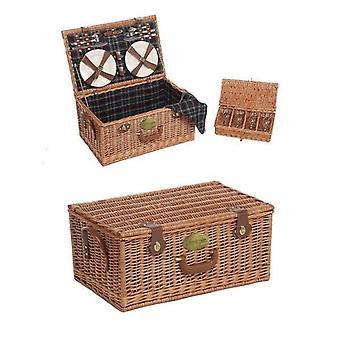4 Person Fitted Lifestyle Rectangular Tartan Picnic Basket