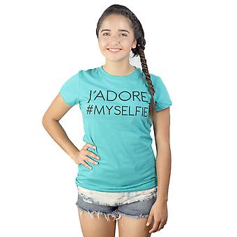 Devine 79 J'Adore My Selfie Text Graphic Printed Junior's Casual Teal T-shirt