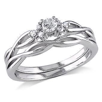 Diamond 1/6 Carat (ctw) Engagement Ring & Wedding Band Set in 10K White Gold