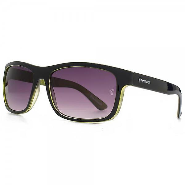 Fenchurch Square Wrap Sunglasses In Black On Neon Yellow