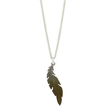 Ti2 Titanium Woodland Small Curved Feather Pendant - Brown