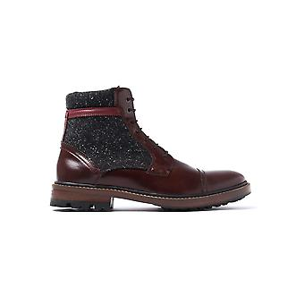 Men's Ruulen Ankle Boots - Brown Leather & Textile