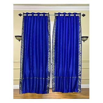 Enchanting Blue Ring Top  Sheer Sari Curtain / Drape / Panel  - Piece