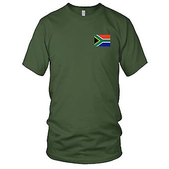 Südafrika Land Nationalflagge - Stickerei Logo - 100 % Baumwolle T-Shirt Herren T Shirt