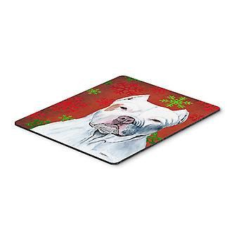 Pit Bull Red and Green Snowflakes Christmas Mouse Pad, Hot Pad or Trivet