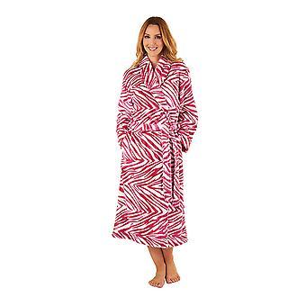 Slenderella GL8741 kobiet malin różowy zebry druku suknia szlafrok długi rękaw
