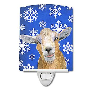 Goat Winter Snowflakes Holiday Ceramic Night Light
