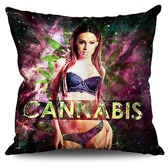 Girl Space Cannabis Linen Cushion Girl Space Cannabis | Wellcoda