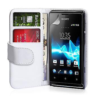 Yousave accesorios Sony Xperia E cuero-efecto cartera estuche - blanco