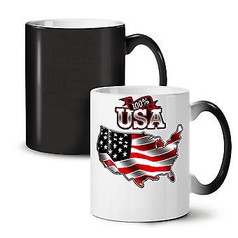 American Flag NEW Black Colour Changing Tea Coffee Ceramic Mug 11 oz | Wellcoda