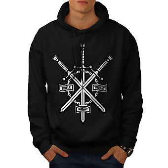 Triple Sword Geek Men BlackHoodie | Wellcoda