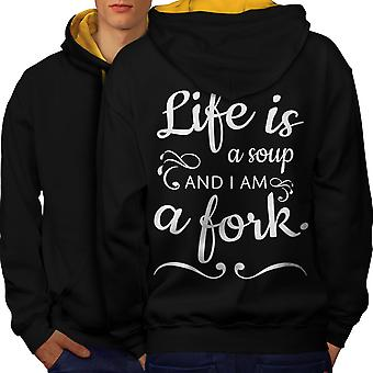 Life Soup Fork Men Black (Gold Hood)Contrast Hoodie Back | Wellcoda