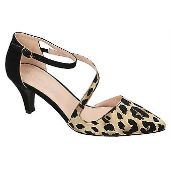 Ladies Womens New Mid Stiletto Heel Ankle Strap Open Fashion Courts Shoes
