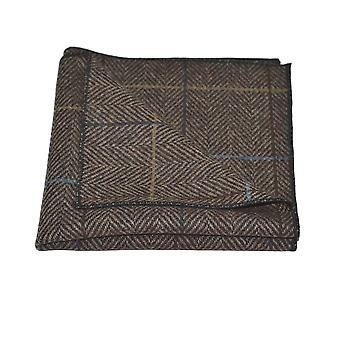 Luxury Walnut Brown Herringbone Check Pocket Square, Handkerchief, Tweed