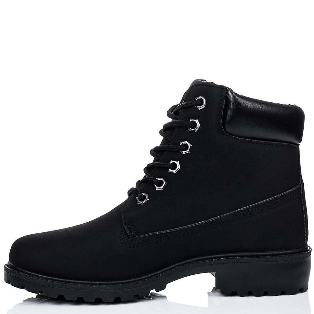 Spylovebuy MORGAN Lace Up Cleated Sole Flat Combat Worker Walking Ankle Boots Shoes - Black Leather Style