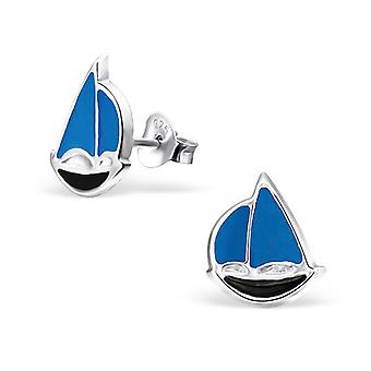 Sailboat - 925 Sterling Silver Colourful Ear Studs - W23807x