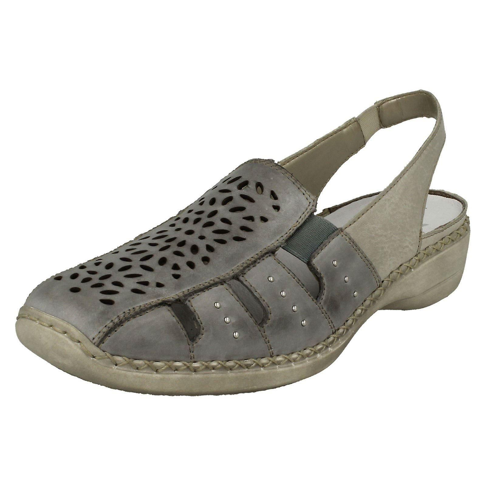 Size Shoes Combination Size Back 10 EU Rieker UK 6 Blue Leather Sling 8 Size US Ladies Casual 39 41390 H6SqIn