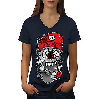 Tot Totenkopf Frauen NavyV-Neck T-shirt   Wellcoda