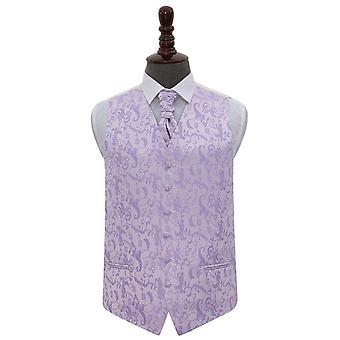 Chaleco de boda Floral lila y corbata conjunto