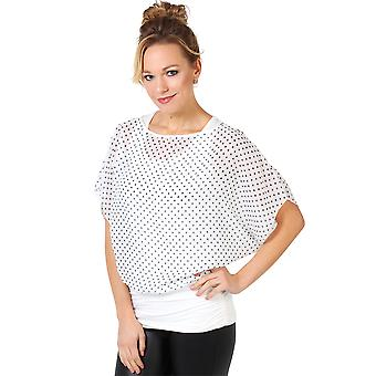 KRISP Large Polka Dot Print Cape Batwing Top
