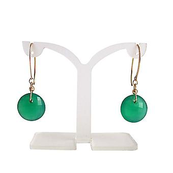Gemstone earrings green Onyx earrings gold plated earrings gems