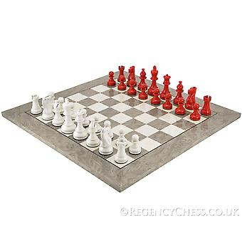 Atlantic Scarlet and Grey Burl Chess Set