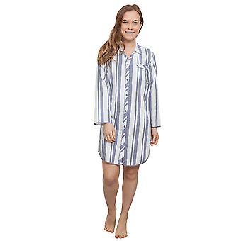 Cyberjammies 3865 Damen Fifi grau gestreift Schlaf-Shirt Nighty Nachthemd
