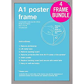 GB Posters 4 Silver A1 Poster Frames 59.4 x 84.1cm Bundle