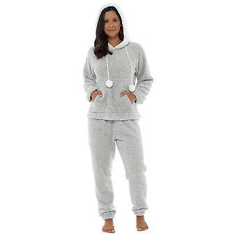 Foxbury Womens Thick Marl Cuddle Fleece Twosie Pyjamas