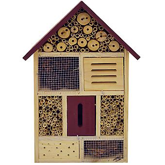Bug - 4 Storey Solid Wood Insect / Butterfly / Bee Hotel / House - Brown / Red
