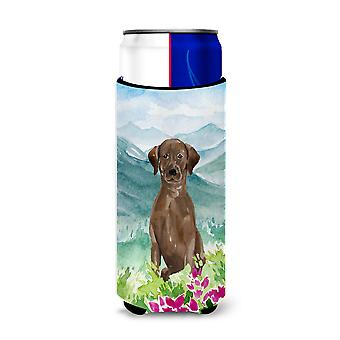 Mountian Flowers Chocolate Lab Michelob Ultra Hugger for slim cans