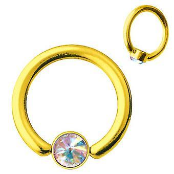 Smiley Piercing BCR Gold Plated Titanium 1,2, SWAROVSKI ELEMENTS Aurora Borealis   6-10 mm