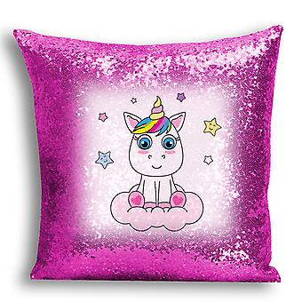 i-Tronixs - Unicorn Printed Design Pink Sequin Cushion / Pillow Cover with Inserted Pillow for Home Decor - 8