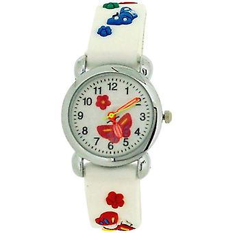 Relda Childrens Girl's 3D Multicolor Butterfly White Silicone Strap Watch REL40