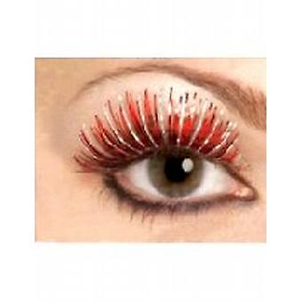 Metallic Eyelashes, Red and Silver, Contains Glue