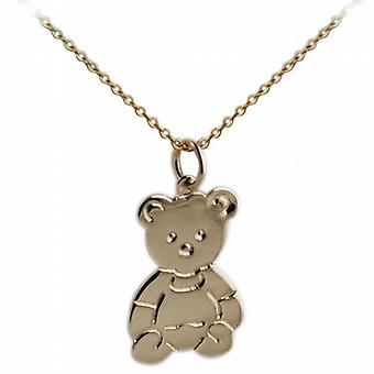 9ct Gold 21x19mm flat Teddy Bear with a cable Chain 20 inches
