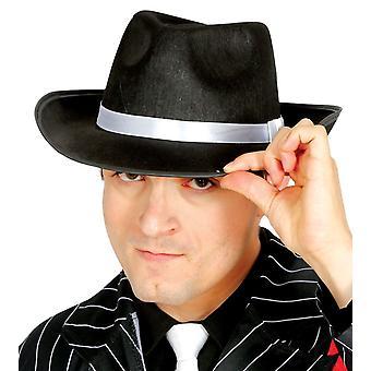 Zwarte Gangster hoed met wit lint Fancy Dress accessoire