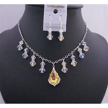 AB Baroque Pendant Swarovski AB Crystals AB Bicone Formal Jewelry Set