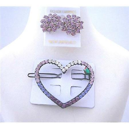 Heart Hair Barrette Ametheyst Crystals Barrette w/ Crystals Earrings